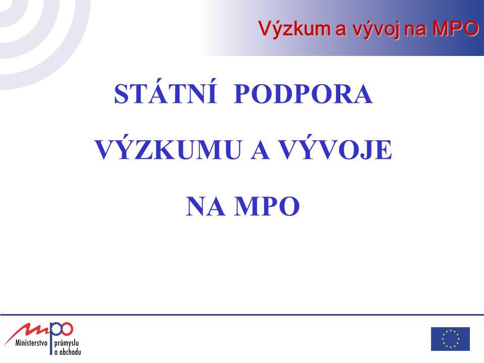 Programy podpory VaV na MPO OPPI - Operační program Podnikání a inovace v rámci Strukturálních fondů Programy účelové podpory aplikovaného výzkumu a experimentálního vývoje Výzkum a vývoj na MPO