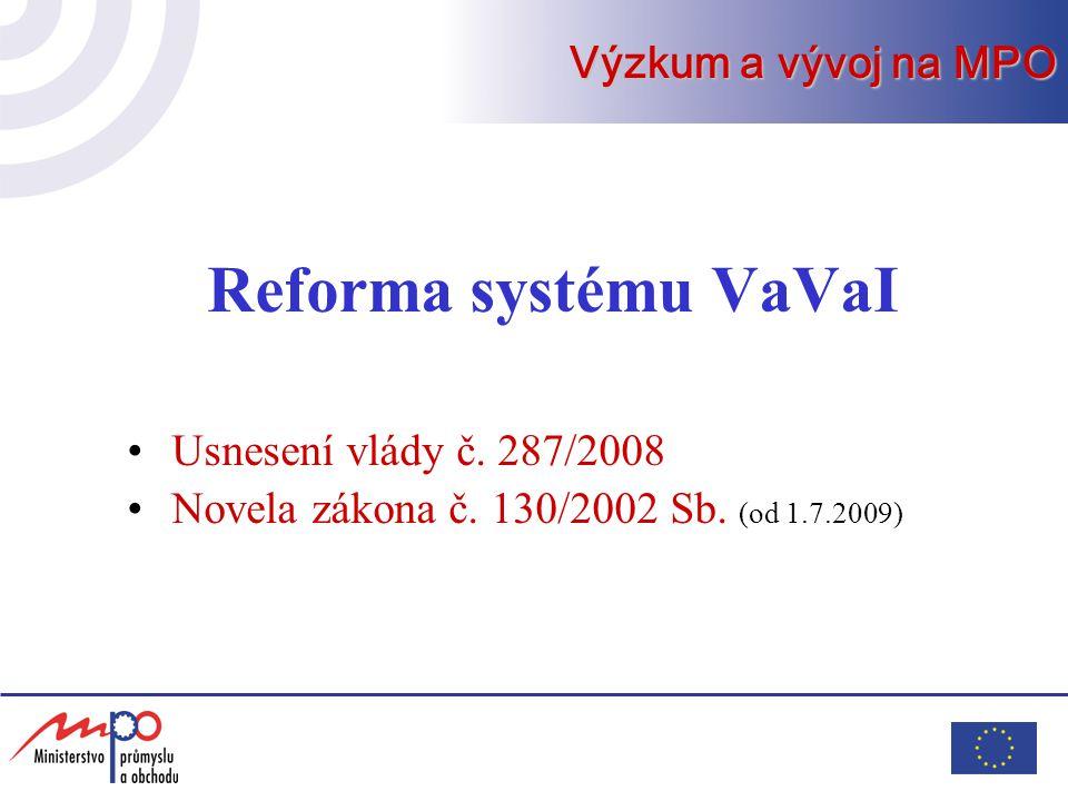Reforma systému VaVaI Usnesení vlády č. 287/2008 Novela zákona č.