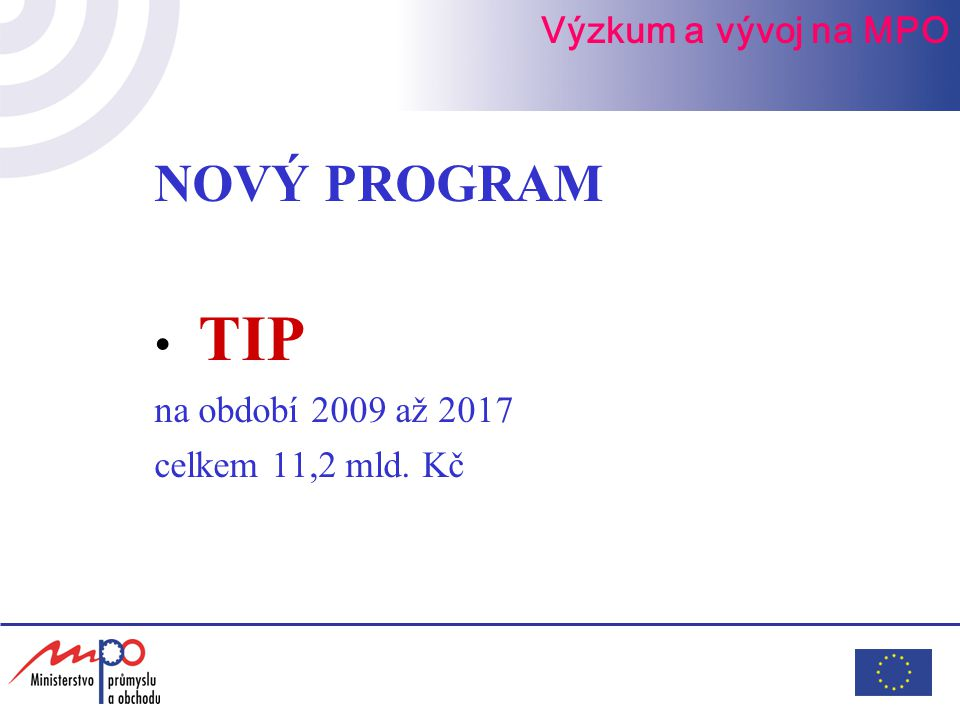 NOVÝ PROGRAM TIP na období 2009 až 2017 celkem 11,2 mld. Kč Výzkum a vývoj na MPO