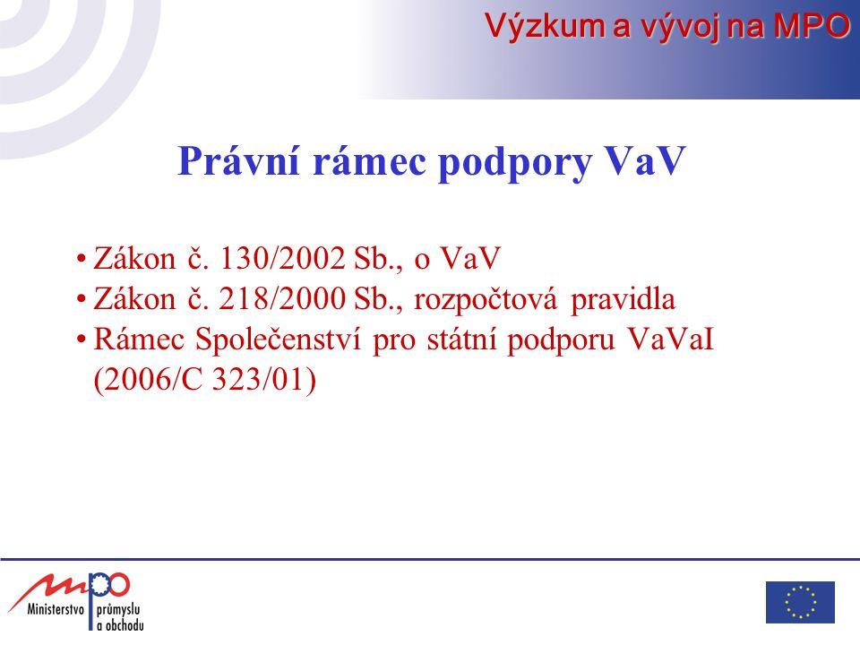 Právní rámec podpory VaV Zákon č. 130/2002 Sb., o VaV Zákon č.