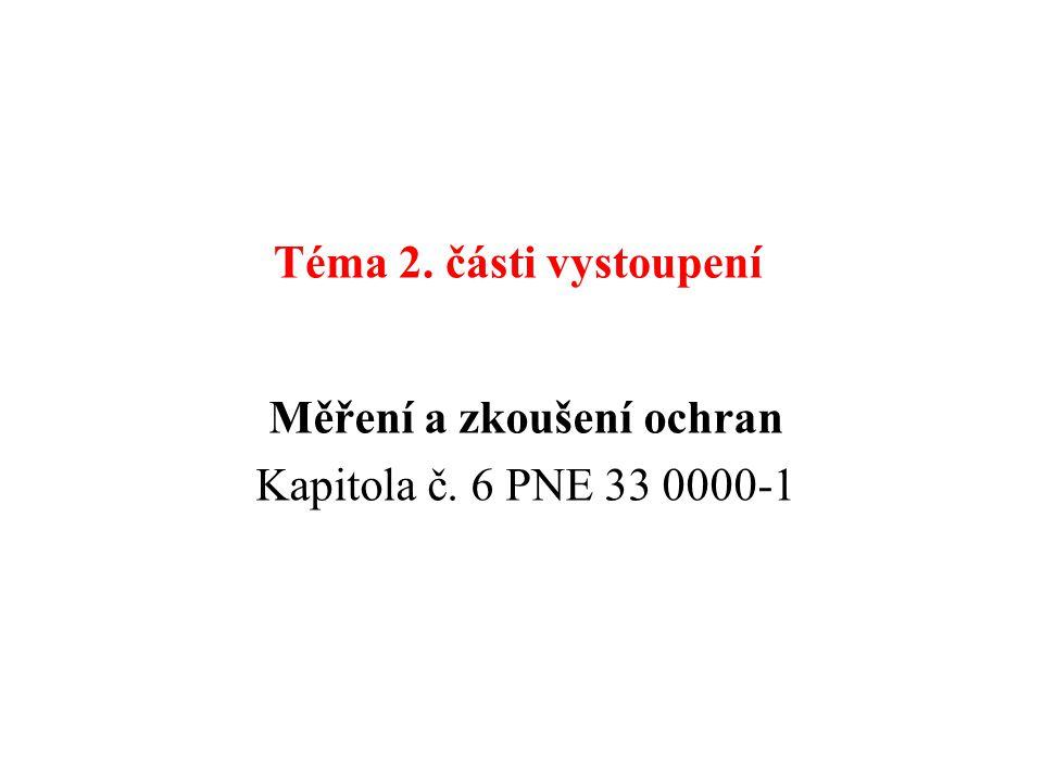 Téma 2. části vystoupení Měření a zkoušení ochran Kapitola č. 6 PNE 33 0000-1