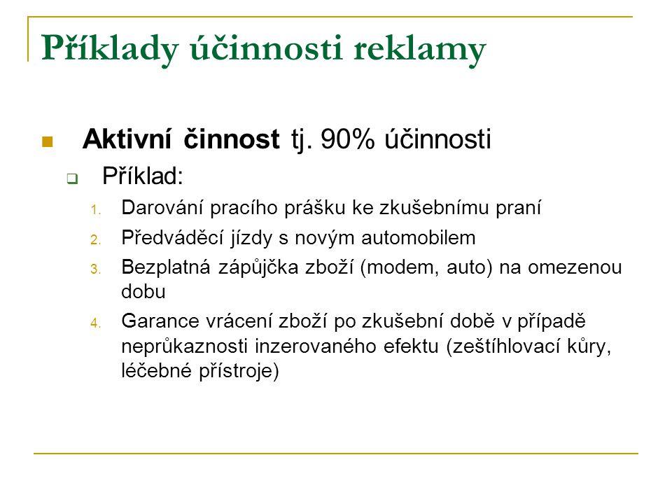Příklady účinnosti reklamy Aktivní činnost tj. 90% účinnosti  Příklad: 1.