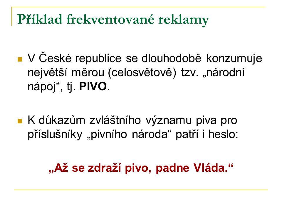Příklad frekventované reklamy V České republice se dlouhodobě konzumuje největší měrou (celosvětově) tzv.