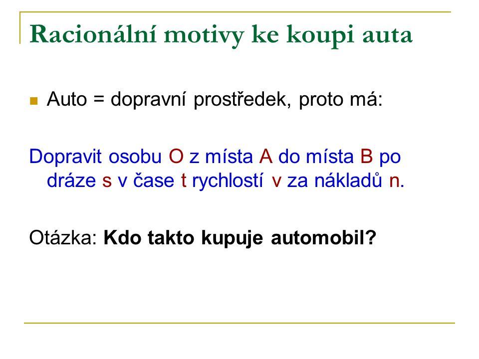 Racionální motivy ke koupi auta Auto = dopravní prostředek, proto má: Dopravit osobu O z místa A do místa B po dráze s v čase t rychlostí v za nákladů n.