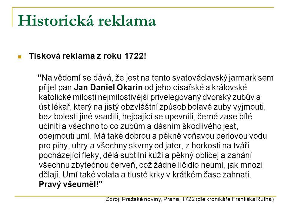 Historická reklama Tisková reklama z roku 1722.