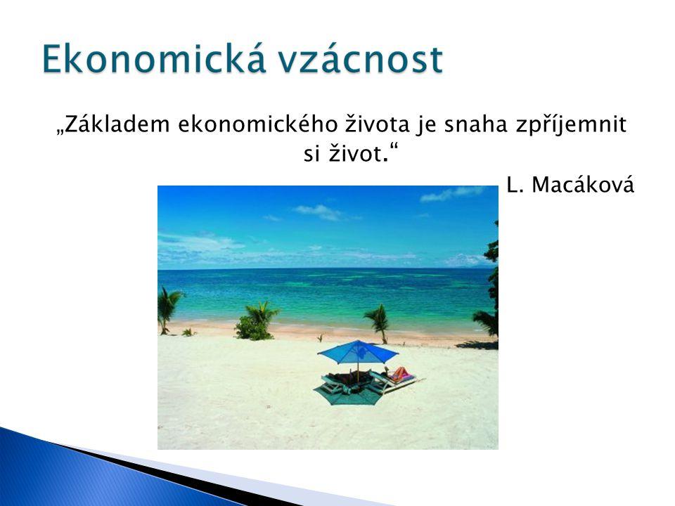 """""""Základem ekonomického života je snaha zpříjemnit si život. L. Macáková"""