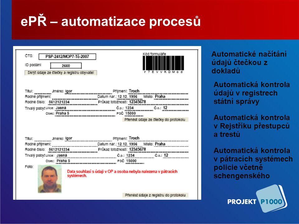 ePŘ – automatizace procesů Automatické načítání údajů čtečkou z dokladů Automatická kontrola údajů v registrech státní správy Automatická kontrola v Rejstříku přestupců a trestů Automatická kontrola v pátracích systémech policie včetně schengenského