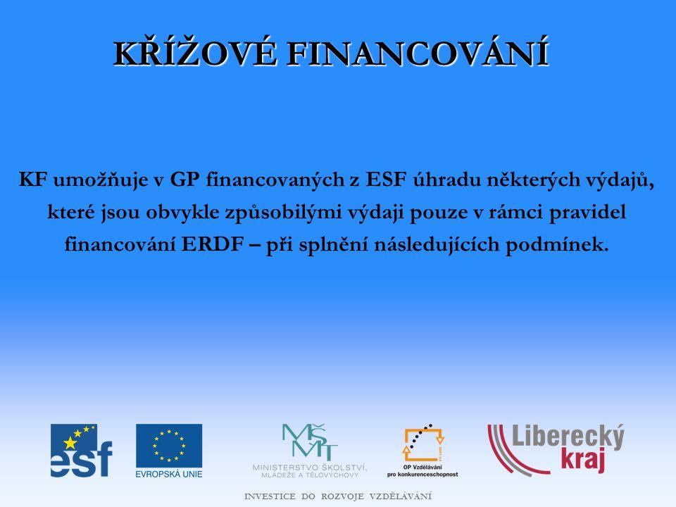INVESTICE DO ROZVOJE VZDĚLÁVÁNÍ KŘÍŽOVÉ FINANCOVÁNÍ KF umožňuje v GP financovaných z ESF úhradu některých výdajů, které jsou obvykle způsobilými výdaji pouze v rámci pravidel financování ERDF – při splnění následujících podmínek.