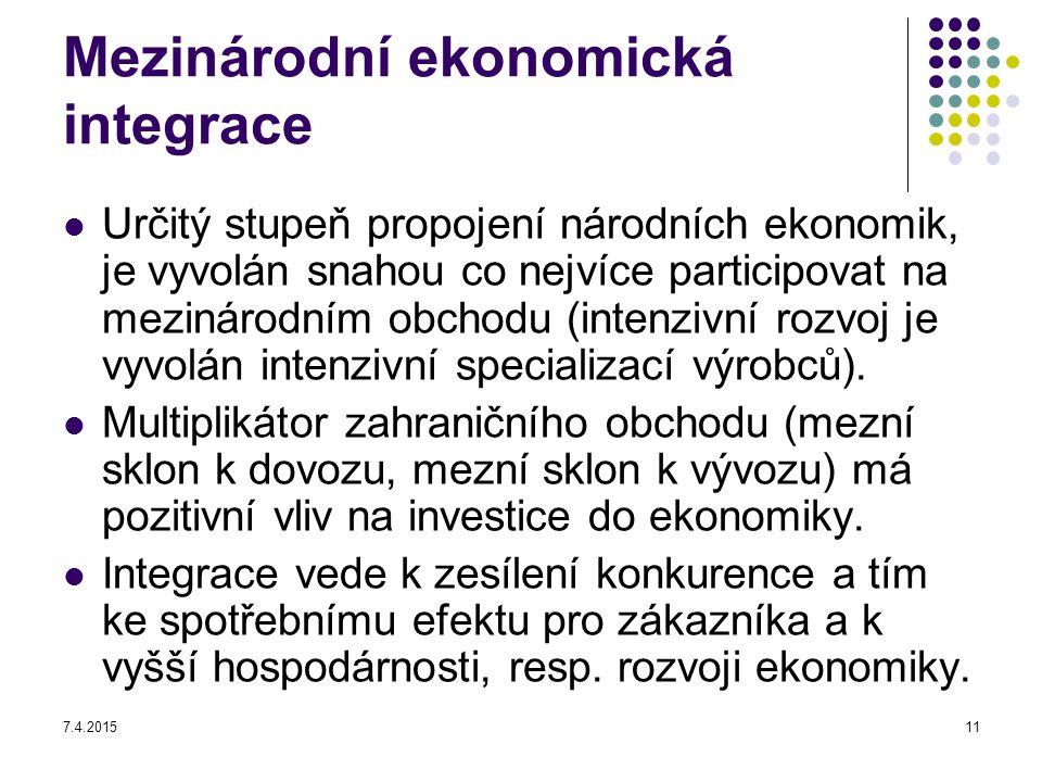 7.4.201511 Mezinárodní ekonomická integrace Určitý stupeň propojení národních ekonomik, je vyvolán snahou co nejvíce participovat na mezinárodním obch