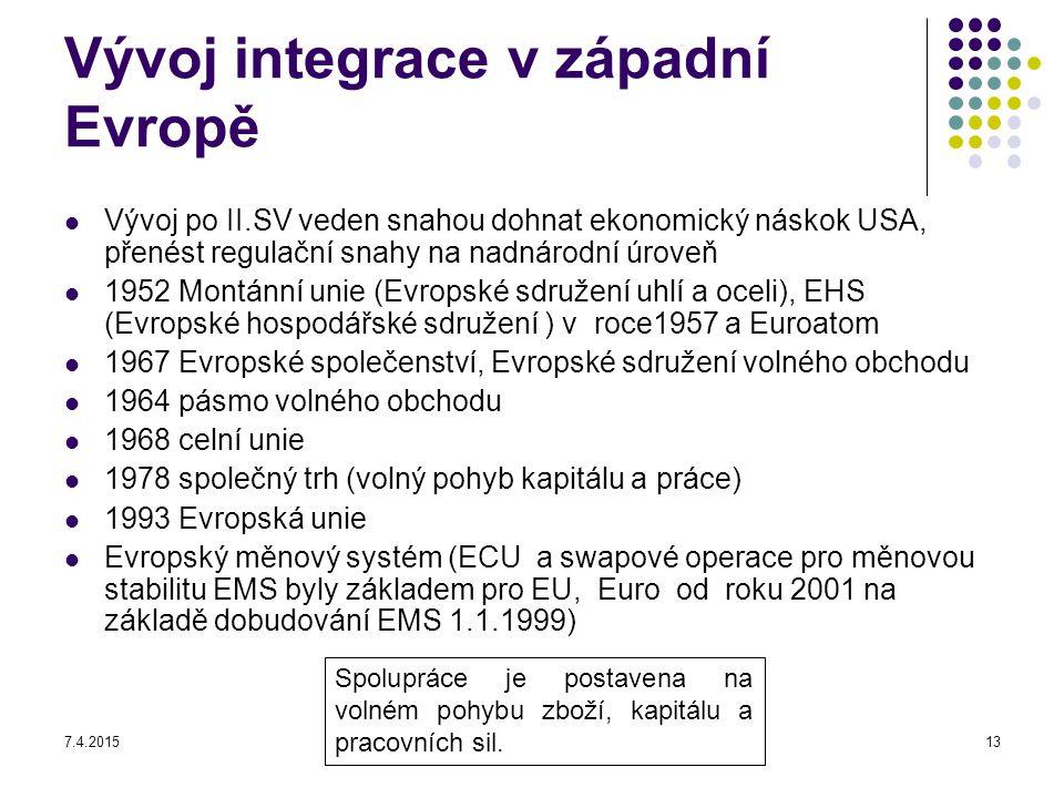 7.4.201513 Vývoj integrace v západní Evropě Vývoj po II.SV veden snahou dohnat ekonomický náskok USA, přenést regulační snahy na nadnárodní úroveň 195