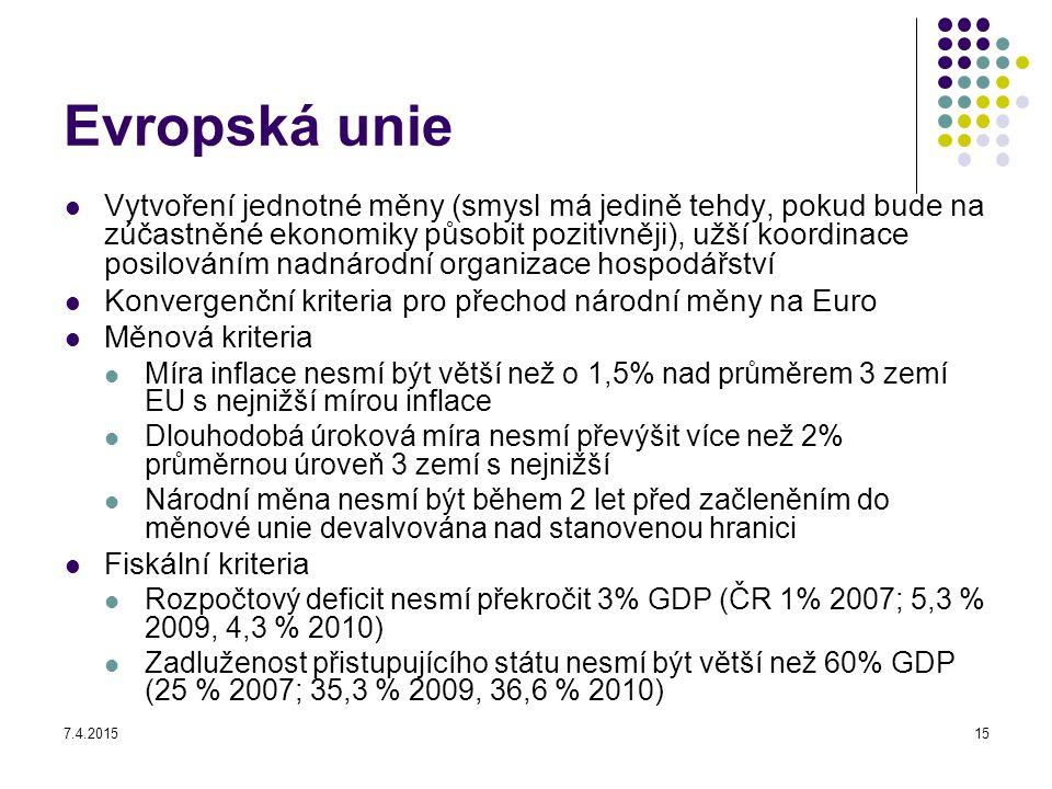 7.4.201515 Evropská unie Vytvoření jednotné měny (smysl má jedině tehdy, pokud bude na zúčastněné ekonomiky působit pozitivněji), užší koordinace posi