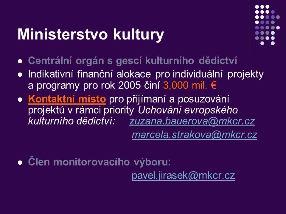 Ministerstvo kultury Centrální orgán s gescí kulturního dědictví Indikativní finanční alokace pro individuální projekty a programy pro rok 2005 činí 3