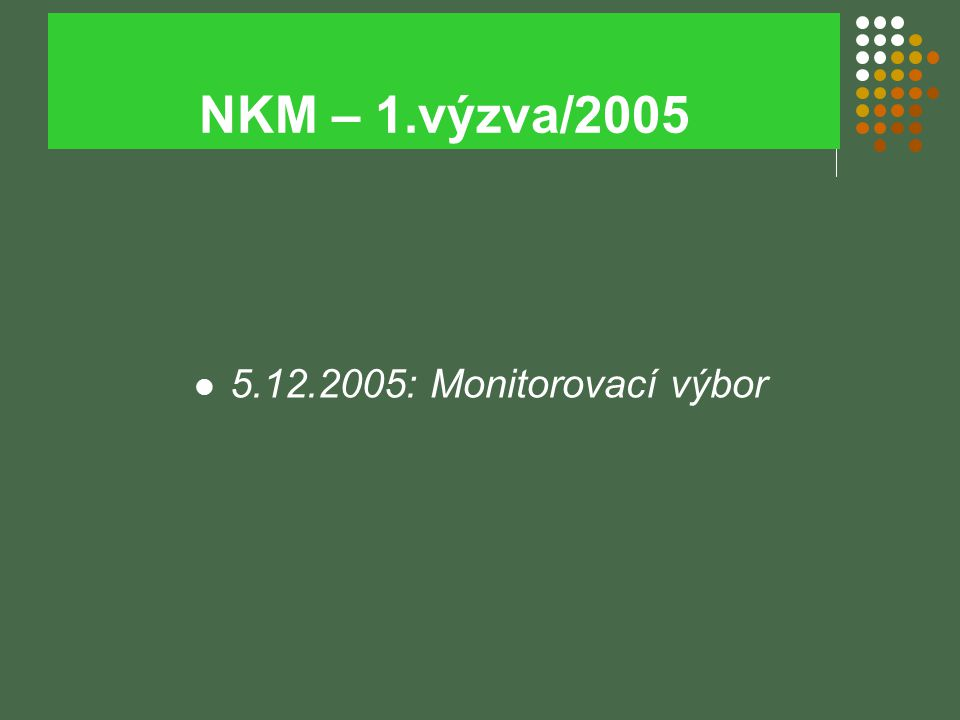 NKM – 1.výzva/2005 5.12.2005: Monitorovací výbor