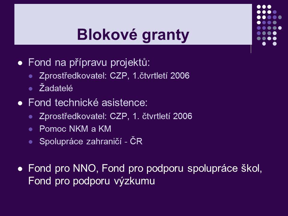 Blokové granty Fond na přípravu projektů: Zprostředkovatel: CZP, 1.čtvrtletí 2006 Žadatelé Fond technické asistence: Zprostředkovatel: CZP, 1. čtvrtle