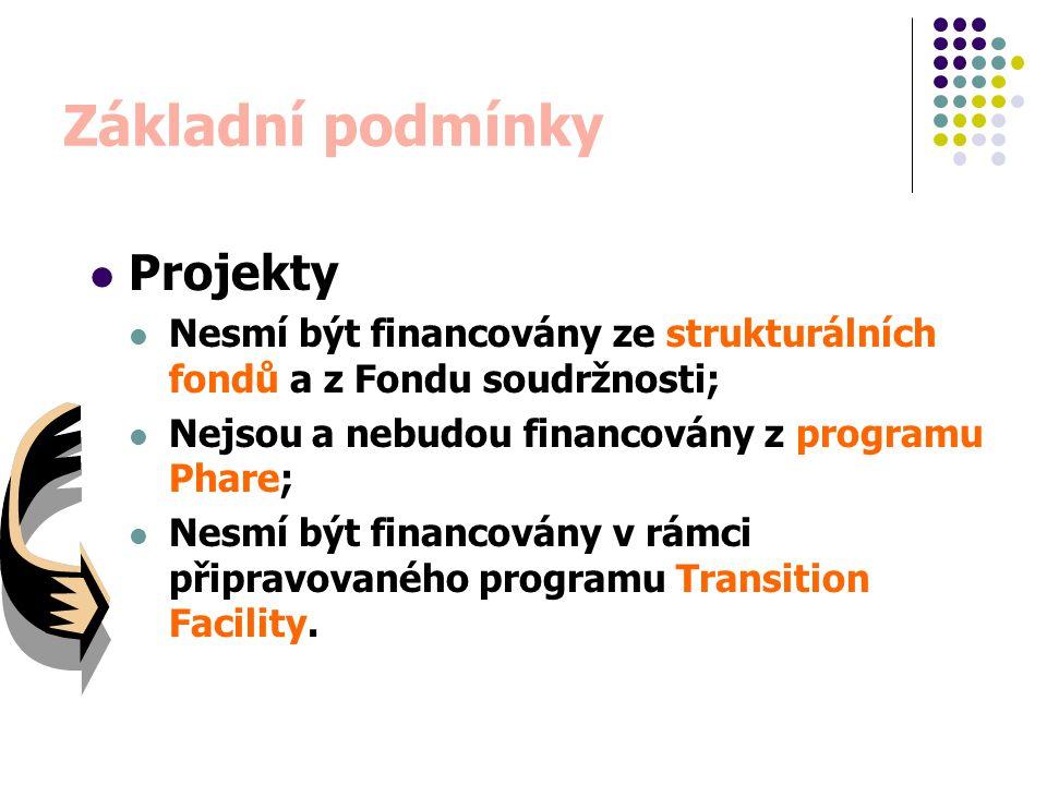 Základní podmínky Projekty Nesmí být financovány ze strukturálních fondů a z Fondu soudržnosti; Nejsou a nebudou financovány z programu Phare; Nesmí b