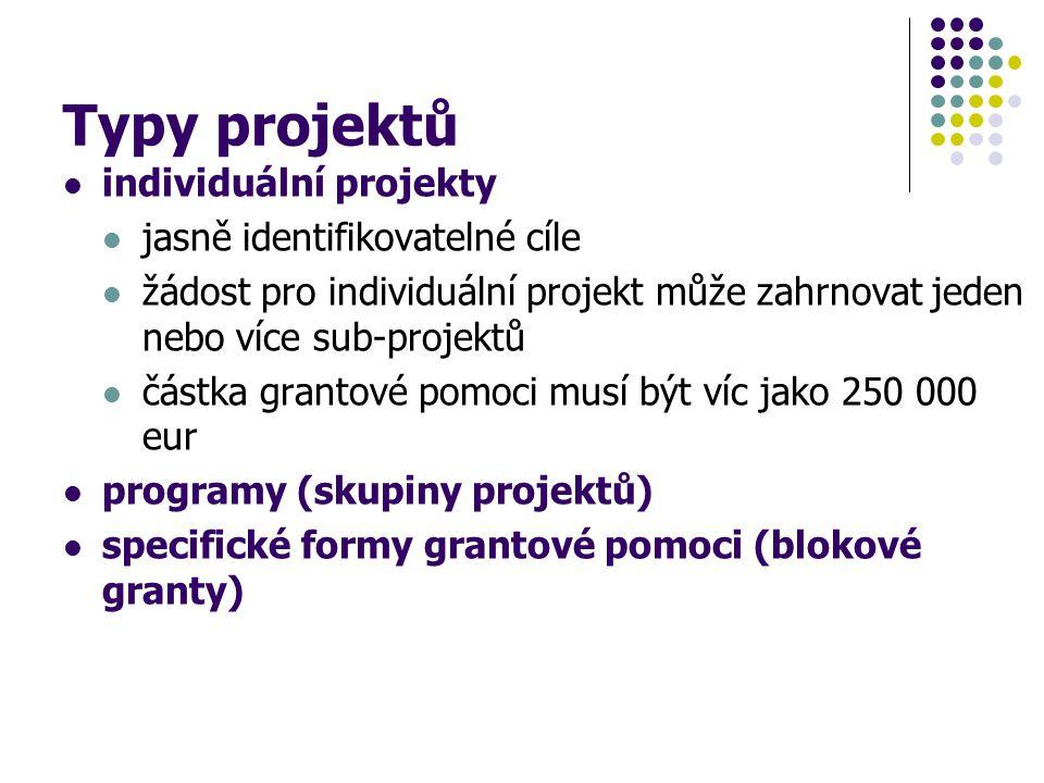 Typy projektů individuální projekty jasně identifikovatelné cíle žádost pro individuální projekt může zahrnovat jeden nebo více sub-projektů částka gr