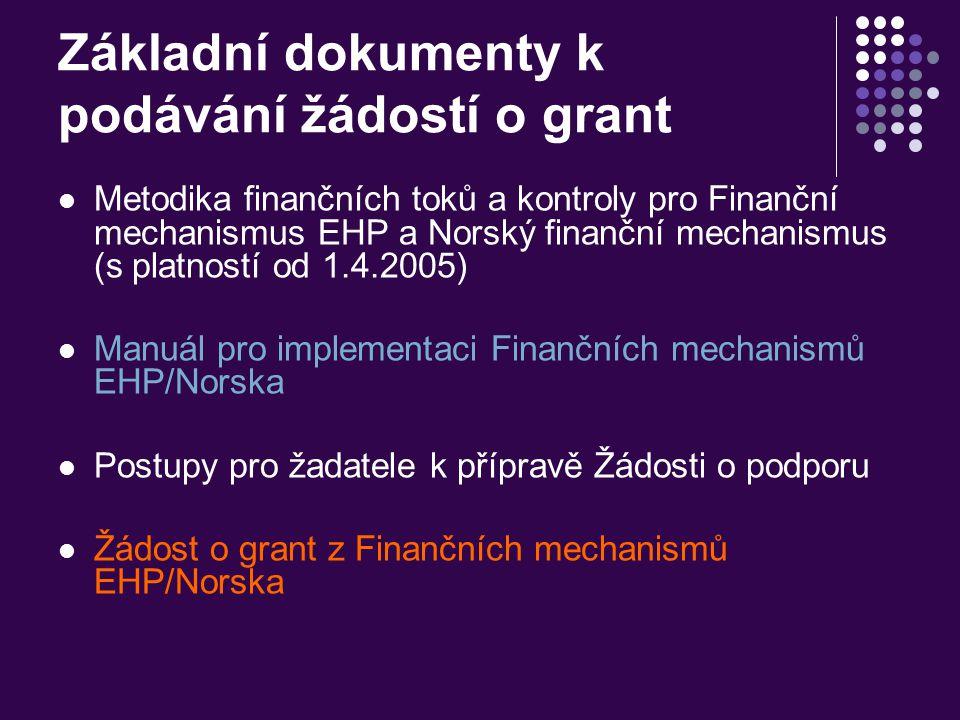 Základní dokumenty k podávání žádostí o grant Metodika finančních toků a kontroly pro Finanční mechanismus EHP a Norský finanční mechanismus (s platno