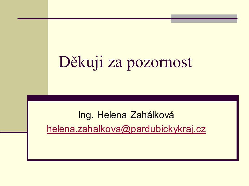 Děkuji za pozornost Ing. Helena Zahálková helena.zahalkova@pardubickykraj.cz
