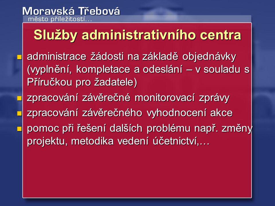 Služby administrativního centra administrace žádosti na základě objednávky (vyplnění, kompletace a odeslání – v souladu s Příručkou pro žadatele) admi