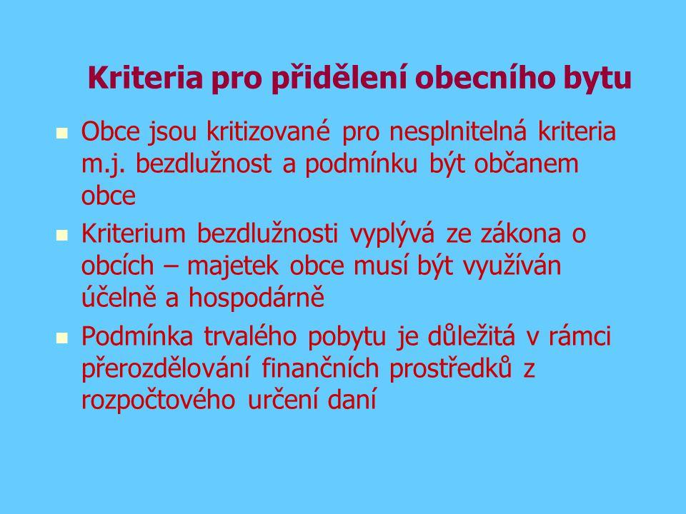 Kriteria pro přidělení obecního bytu Obce jsou kritizované pro nesplnitelná kriteria m.j. bezdlužnost a podmínku být občanem obce Kriterium bezdlužnos