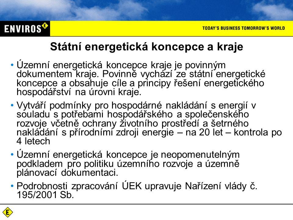 Státní energetická koncepce a kraje Územní energetická koncepce kraje je povinným dokumentem kraje.