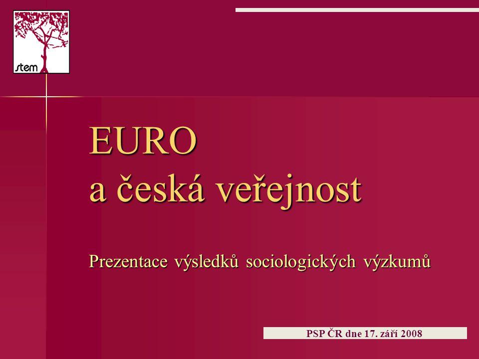 EURO a česká veřejnost Prezentace výsledků sociologických výzkumů PSP ČR dne 17. září 2008