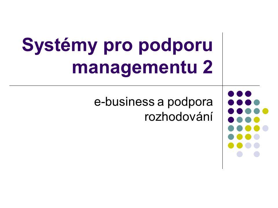 Obsah Co je e-business Požadavky na e-business aplikace E-business z pohledu zákazníků E-business transformace Aplikační prostředí pro WWW prezentaci firmy Aplikační prostředí pro elektronický obchod, on-line komunikaci s ERP Aplikační prostředí pro enterprise e-business řešení Rizika e-business řešení Perspektivy e-business Příklady systémů pro e-business Další zdroje