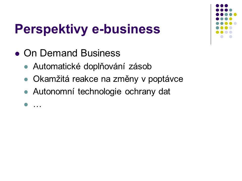 Perspektivy e-business On Demand Business Automatické doplňování zásob Okamžitá reakce na změny v poptávce Autonomní technologie ochrany dat …