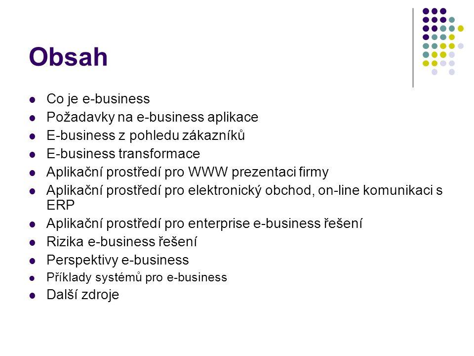 Co je e-business Komplexní podpora podnikání v prostředí Internetu: Správa dokumentů (eDMS) Správa zákazníků (CRM) Helpdesk Podpora rozhodování (BI, MIS) Správa znalostí (KM) E-commerce (B2B a B2C) Komunikace Další aplikace (řízení skladových zásob, nákup, výroba, legislativa, …)