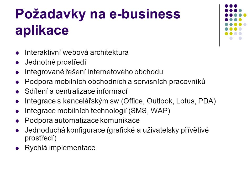 Požadavky na e-business aplikace Interaktivní webová architektura Jednotné prostředí Integrované řešení internetového obchodu Podpora mobilních obchod