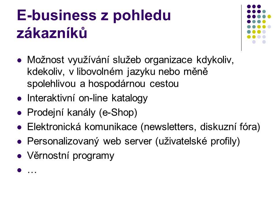 E-business z pohledu zákazníků Možnost využívání služeb organizace kdykoliv, kdekoliv, v libovolném jazyku nebo měně spolehlivou a hospodárnou cestou Interaktivní on-line katalogy Prodejní kanály (e-Shop) Elektronická komunikace (newsletters, diskuzní fóra) Personalizovaný web server (uživatelské profily) Věrnostní programy …