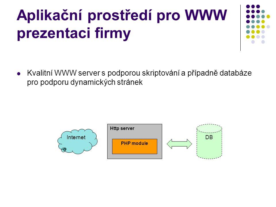 Aplikační prostředí pro WWW prezentaci firmy Kvalitní WWW server s podporou skriptování a případně databáze pro podporu dynamických stránek Http server PHP module DB Internet