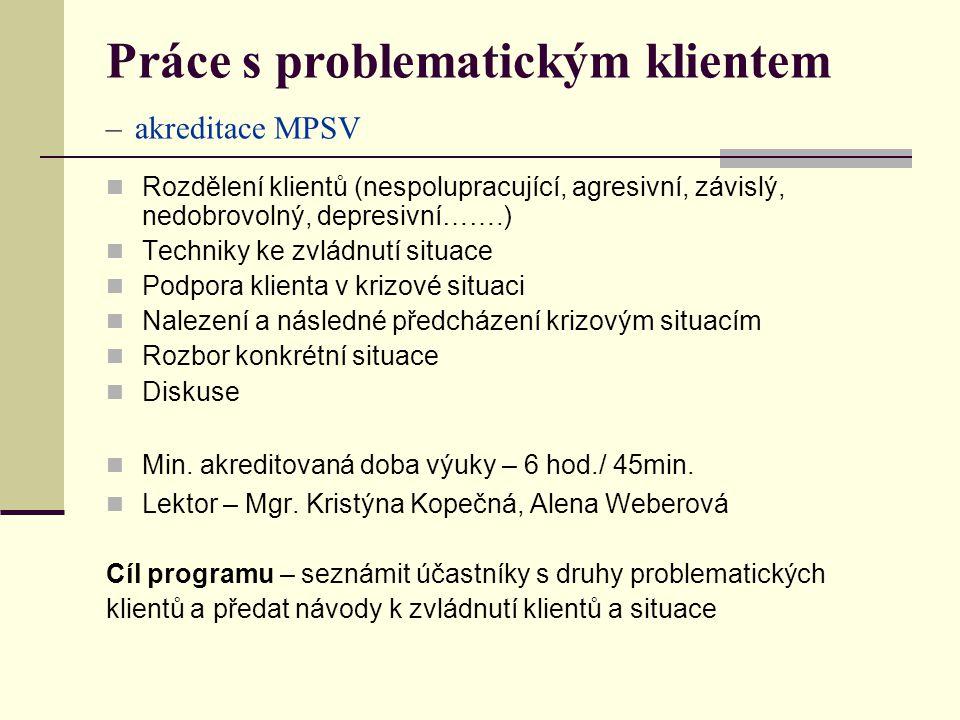 Práce s problematickým klientem – akreditace MPSV Rozdělení klientů (nespolupracující, agresivní, závislý, nedobrovolný, depresivní…….) Techniky ke zvládnutí situace Podpora klienta v krizové situaci Nalezení a následné předcházení krizovým situacím Rozbor konkrétní situace Diskuse Min.