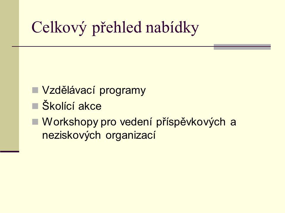 Celkový přehled nabídky Vzdělávací programy Školící akce Workshopy pro vedení příspěvkových a neziskových organizací