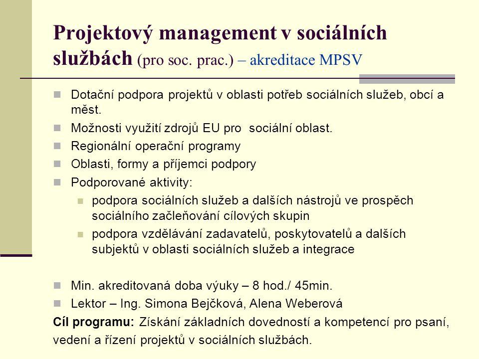 Projektový management v sociálních službách (pro soc.