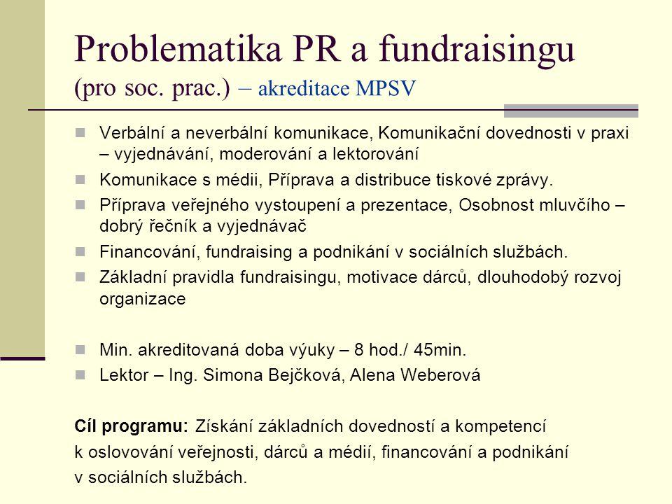 Problematika PR a fundraisingu (pro soc.