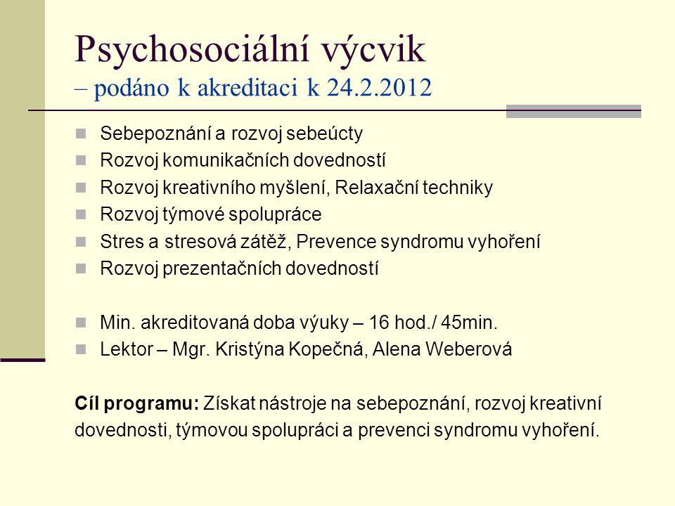 Psychosociální výcvik – podáno k akreditaci k 24.2.2012 Sebepoznání a rozvoj sebeúcty Rozvoj komunikačních dovedností Rozvoj kreativního myšlení, Relaxační techniky Rozvoj týmové spolupráce Stres a stresová zátěž, Prevence syndromu vyhoření Rozvoj prezentačních dovedností Min.