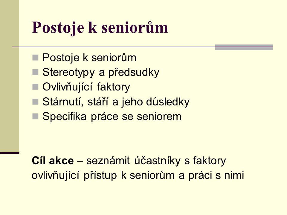 Postoje k seniorům Stereotypy a předsudky Ovlivňující faktory Stárnutí, stáří a jeho důsledky Specifika práce se seniorem Cíl akce – seznámit účastníky s faktory ovlivňující přístup k seniorům a práci s nimi