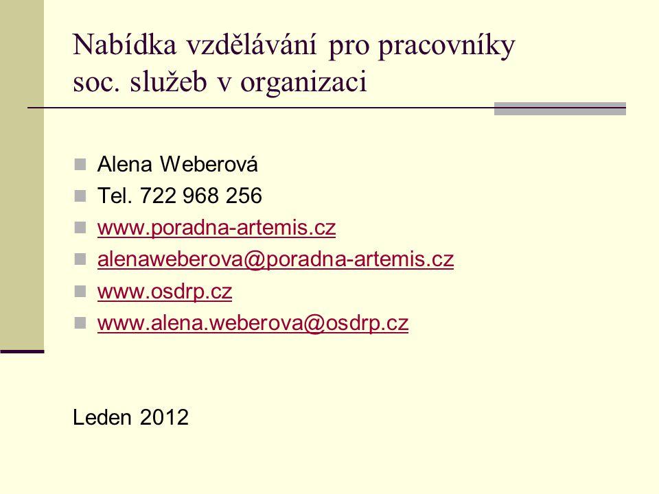 Nabídka vzdělávání pro pracovníky soc.služeb v organizaci Alena Weberová Tel.