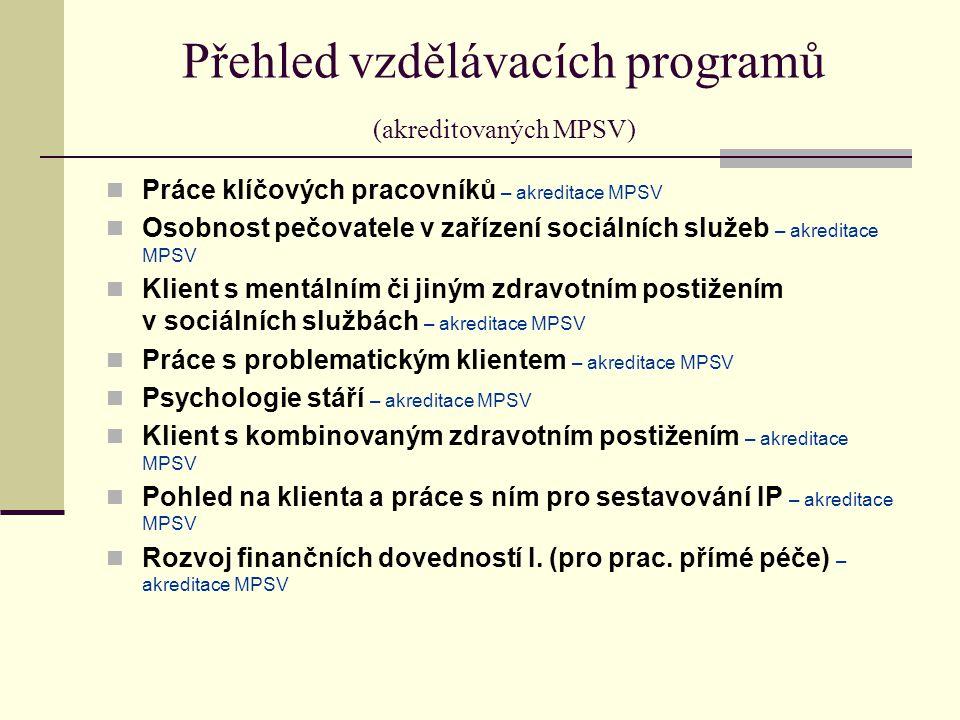 Přehled vzdělávacích programů (akreditovaných MPSV) Práce klíčových pracovníků – akreditace MPSV Osobnost pečovatele v zařízení sociálních služeb – akreditace MPSV Klient s mentálním či jiným zdravotním postižením v sociálních službách – akreditace MPSV Práce s problematickým klientem – akreditace MPSV Psychologie stáří – akreditace MPSV Klient s kombinovaným zdravotním postižením – akreditace MPSV Pohled na klienta a práce s ním pro sestavování IP – akreditace MPSV Rozvoj finančních dovedností I.