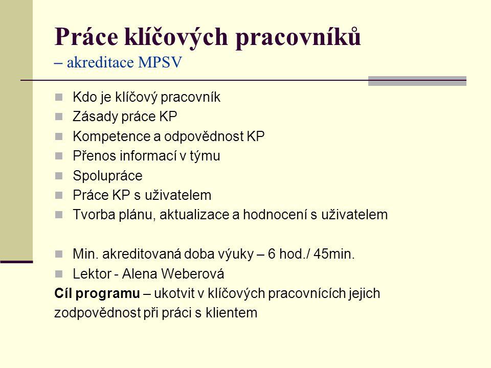 Práce klíčových pracovníků – akreditace MPSV Kdo je klíčový pracovník Zásady práce KP Kompetence a odpovědnost KP Přenos informací v týmu Spolupráce Práce KP s uživatelem Tvorba plánu, aktualizace a hodnocení s uživatelem Min.