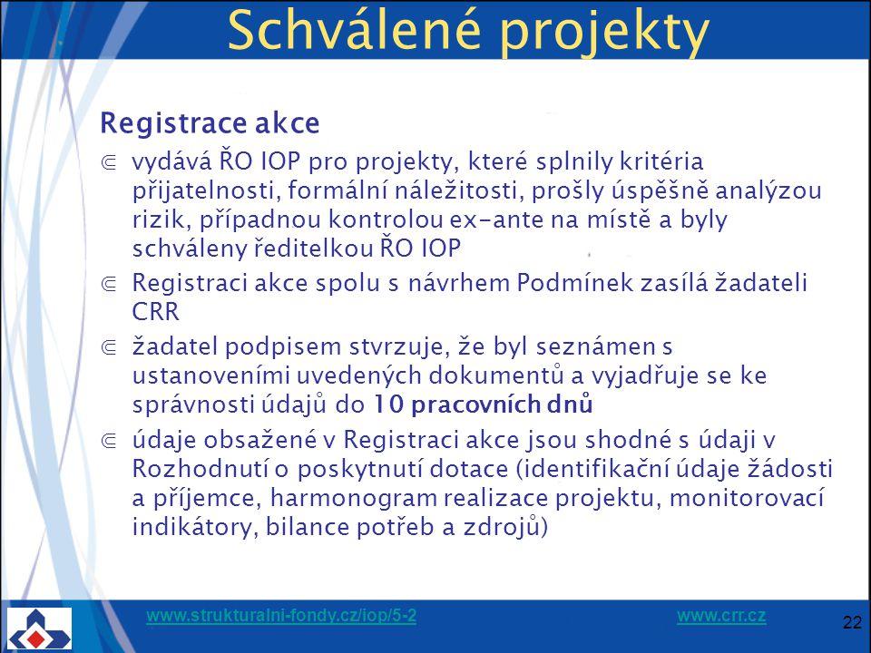 www.strukturalni-fondy.cz/iop/5-2www.strukturalni-fondy.cz/iop/5-2 www.crr.czwww.crr.cz 22 Schválené projekty Registrace akce ⋐vydává ŘO IOP pro projekty, které splnily kritéria přijatelnosti, formální náležitosti, prošly úspěšně analýzou rizik, případnou kontrolou ex-ante na místě a byly schváleny ředitelkou ŘO IOP ⋐Registraci akce spolu s návrhem Podmínek zasílá žadateli CRR ⋐žadatel podpisem stvrzuje, že byl seznámen s ustanoveními uvedených dokumentů a vyjadřuje se ke správnosti údajů do 10 pracovních dnů ⋐údaje obsažené v Registraci akce jsou shodné s údaji v Rozhodnutí o poskytnutí dotace (identifikační údaje žádosti a příjemce, harmonogram realizace projektu, monitorovací indikátory, bilance potřeb a zdrojů)