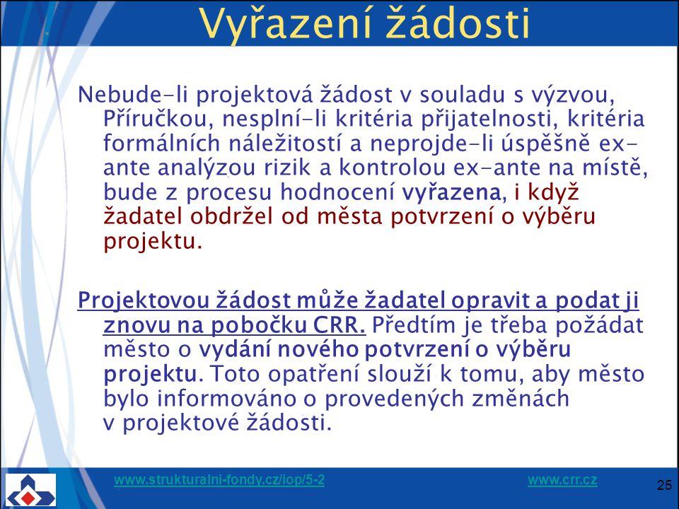 www.strukturalni-fondy.cz/iop/5-2www.strukturalni-fondy.cz/iop/5-2 www.crr.czwww.crr.cz 25 Vyřazení žádosti Nebude-li projektová žádost v souladu s výzvou, Příručkou, nesplní-li kritéria přijatelnosti, kritéria formálních náležitostí a neprojde-li úspěšně ex- ante analýzou rizik a kontrolou ex-ante na místě, bude z procesu hodnocení vyřazena, i když žadatel obdržel od města potvrzení o výběru projektu.