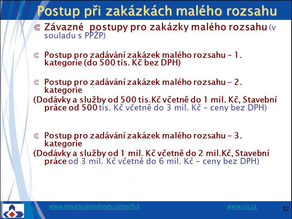 www.strukturalni-fondy.cz/iop/5-2www.strukturalni-fondy.cz/iop/5-2 www.crr.czwww.crr.cz 32 Postup při zakázkách malého rozsahu ⋐Závazné postupy pro zakázky malého rozsahu (v souladu s PPŽP) ⋐Postup pro zadávání zakázek malého rozsahu – 1.