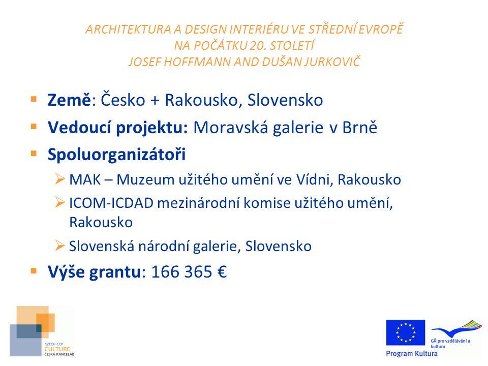 Financování projektu  Program MKČR na podporu projektů financovaných programem Culture (nejen v ČR)  pro vedoucí projektu i spoluorganizátory  průběžná výzva  do výše max.