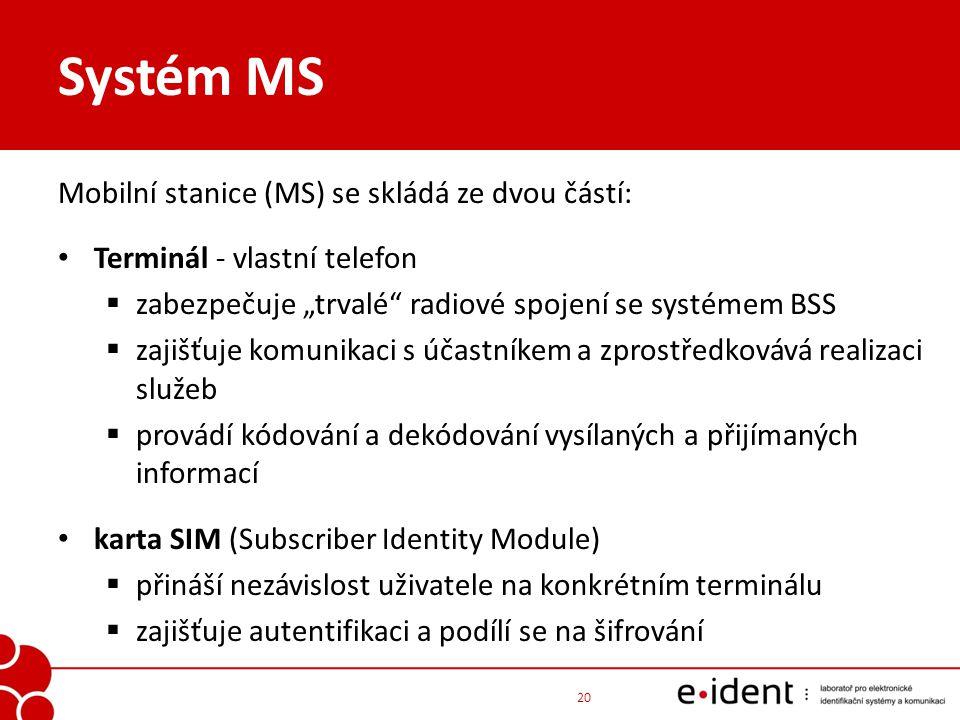"""Systém MS Mobilní stanice (MS) se skládá ze dvou částí: Terminál - vlastní telefon  zabezpečuje """"trvalé"""" radiové spojení se systémem BSS  zajišťuje"""