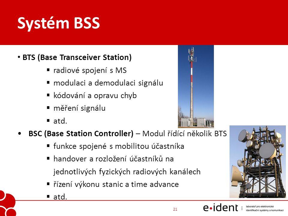 Systém BSS BTS (Base Transceiver Station)  radiové spojení s MS  modulaci a demodulaci signálu  kódování a opravu chyb  měření signálu  atd. BSC
