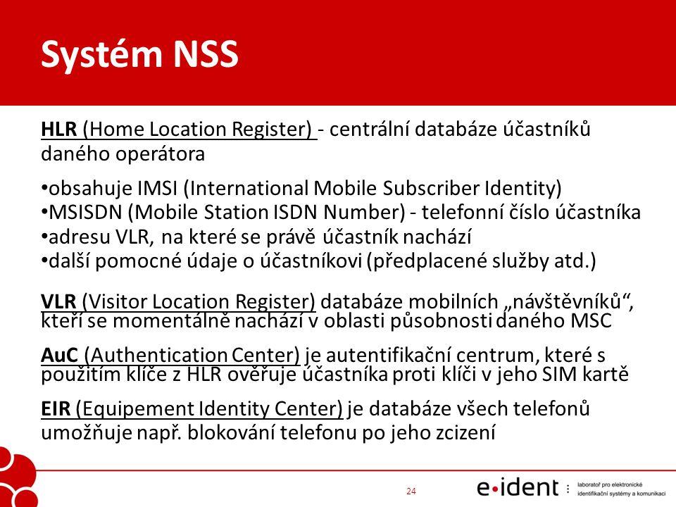Systém NSS HLR (Home Location Register) - centrální databáze účastníků daného operátora obsahuje IMSI (International Mobile Subscriber Identity) MSISD