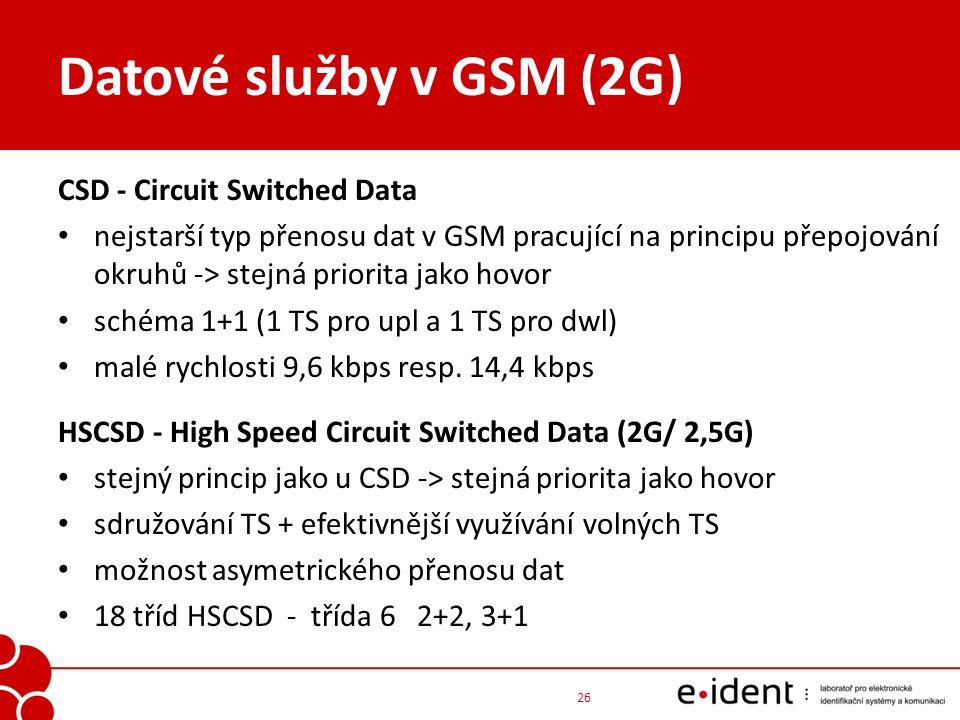 Datové služby v GSM (2G) CSD - Circuit Switched Data nejstarší typ přenosu dat v GSM pracující na principu přepojování okruhů -> stejná priorita jako