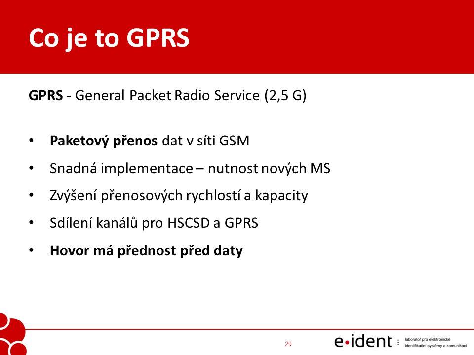 Co je to GPRS GPRS - General Packet Radio Service (2,5 G) Paketový přenos dat v síti GSM Snadná implementace – nutnost nových MS Zvýšení přenosových r